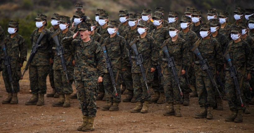 Female United States Marine Corps recruits from Lima Company, the first gender integrated training class, are pictured on April 22, 2021, at Camp Pendleton in San Diego County, California.