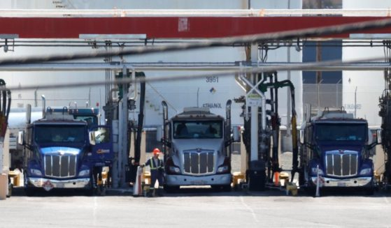 Fuel trucks fill their tanks at a fuel terminal on April 29, 2021, in Richmond, California.