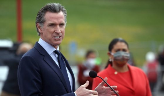 Democratic California Gov. Gavin Newsom speaks during a news conference on Thursday in San Francisco.