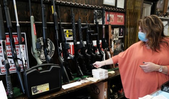 Lisa Caso sells guns at Caso's Gun-A-Rama store in Jersey City, New Jersey, on March 25.