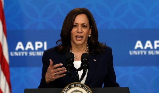 Vice President Kamala Harris delivers remarks at the South Court Auditorium of Eisenhower Executive Office Building on May 19, 2021 in Washington, D.C.