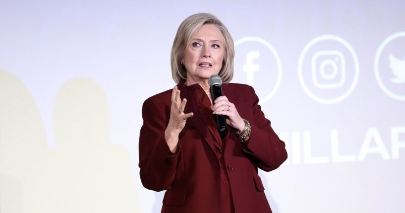 """Former Democratic Secretary of State Hillary Clinton speaks onstage during Hulu's """"Hillary"""" NYC Premiere on March 4, 2020, in New York City."""