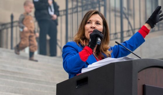 Idaho Lt. Gov. Janice McGeachin speaks during a mask burning event at the Idaho Statehouse on March 6, 2021, in Boise, Idaho.