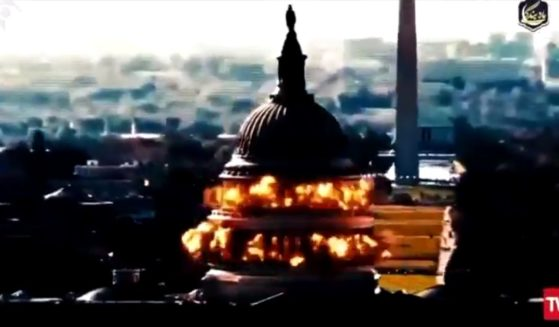 An image of the U.S. Capitol being blown up is shown in a reported Iranian state-controlled media clip on Sunday.