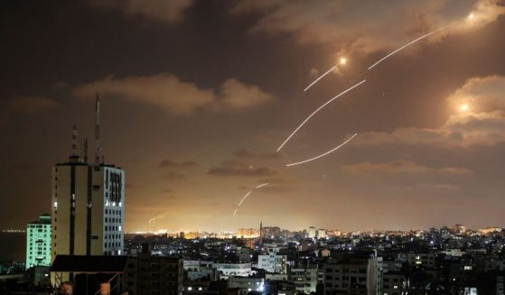 Rockets launched from the Gaza Strip are intercepted by Israel's Iron Dome aerial defense system on May 12.