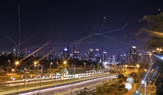 Israel's Iron Dome air defence system intercepts rockets above the coastal city of Tel Aviv on Saturday, following their launching from the Gaza Strip controlled by the Palestinian Hamas movement.