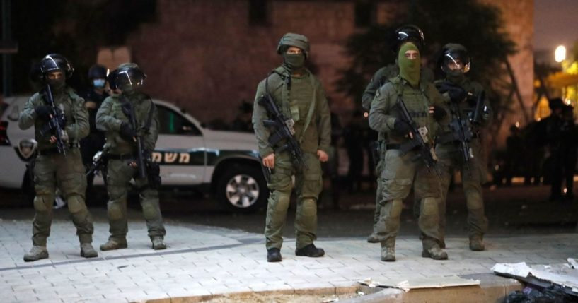 Israeli special forces gather in the mixed Jewish-Arab city of Lod on Thursday.