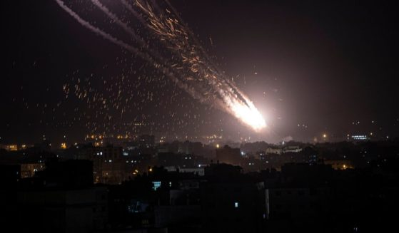 Rockets are launched from the Gaza Strip toward Israel on Monday.
