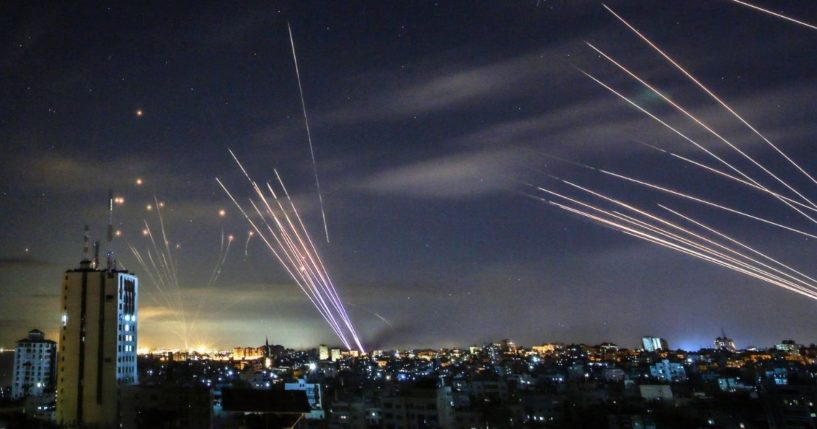 Israel's Iron Dome missile defense system intercepts rockets fired by Hamas terrorists toward southern Israel from the northern Gaza Strip.