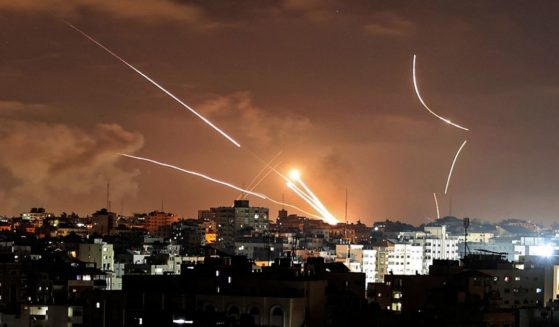 Rockets are launched from Gaza City, controlled by the Palestinian Hamas movement, toward Israel on Wednesday amid the most intense Israeli-Palestinian hostilities in seven years.