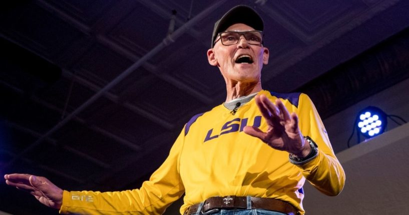 James Carville, a political commentator known for leading former President Bill Clinton's 1992 presidential campaign speaks at the Spotlight Room at the Palace on Feb. 8, 2020, in Manchester, New Hampshire.