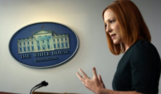 White House press secretary Jen Psaki speaks during a daily briefing at the James Brady Press Briefing Room of the White House on Tuesday in Washington, D.C.