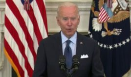 President Joe Biden delivers remarks from the White House on Tuesday.