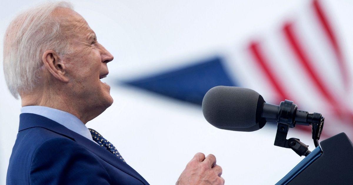 President Joe Biden speaks during a drive-in rally at Infinite Energy Center on Thursday, in Duluth, Georgia.