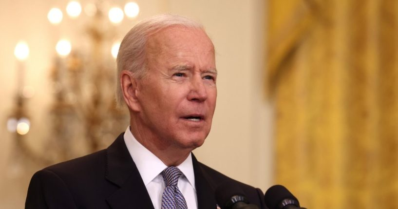 President Joe Biden gives an update in the East Room of the White House on May 17, 2021 in Washington, D.C.