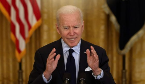 President Joe Biden speaks at the East Room of the White House on Friday in Washington, D.C.
