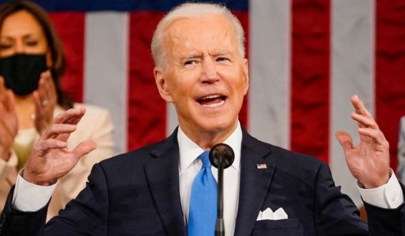 President Joe Biden addresses a joint session of Congress at the U.S. Capitol in Washington, D.C., on Wednesday.
