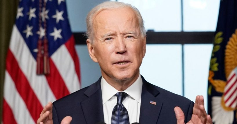 President Joe Biden speaks from the Treaty Room in the White House on April 14, 2021, in Washington, D.C., about the withdrawal of the remainder of U.S. troops from Afghanistan.