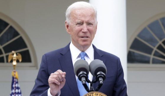 President Joe Biden delivers remarks on the COVID-19 response and vaccination program in the Rose Garden of the White House on Thursday in Washington, D.C.