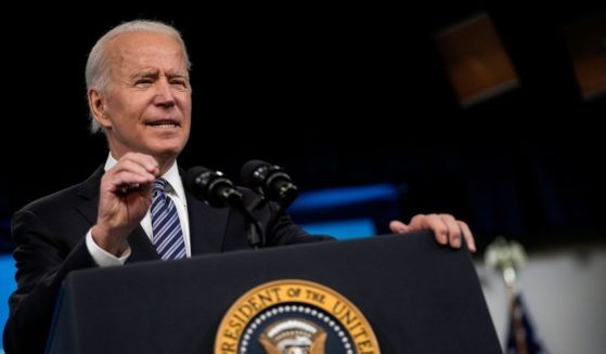 President Joe Biden delivers remarks on the COVID-19 response and the ongoing vaccination program at the Eisenhower Executive Office Building on Wednesday in Washington, D.C.