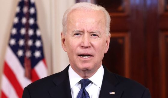 President Joe Biden delivers a speech in the White House in Washington on May 20.