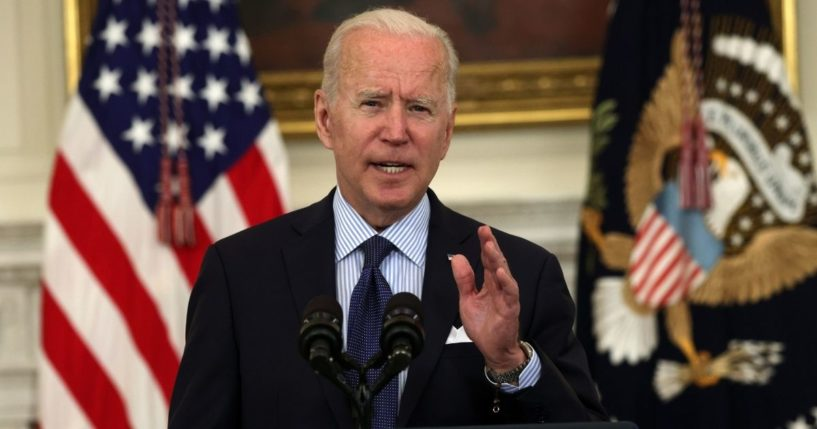 President Joe Biden delivers remarks during an event at the State Dining Room of the White House on Tuesday in Washington, D.C.