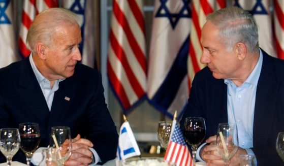 Then-Vice President Joe Biden sits with Israeli Prime Minister Benjamin Netanyahu before a dinner at the prime minister's residence on March 9, 2010, in Jerusalem, Israel.
