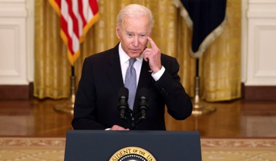 President Joe Biden speaks in the East Room of the White House on Monday in Washington, D.C.