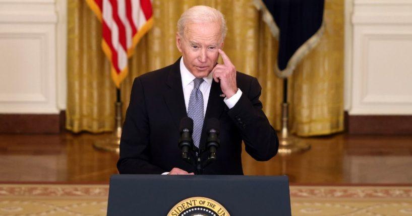President Joe Biden speaks in the East Room of the White House on Monday in Washington, D.C.