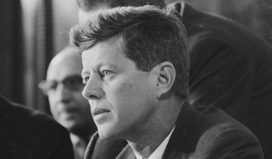 Democratic Sen. John F. Kennedy of Massachusetts listens to testimony during the McClellan Committee's investigation of the Teamsters Union in Washington, D.C., on Feb. 26, 1957.