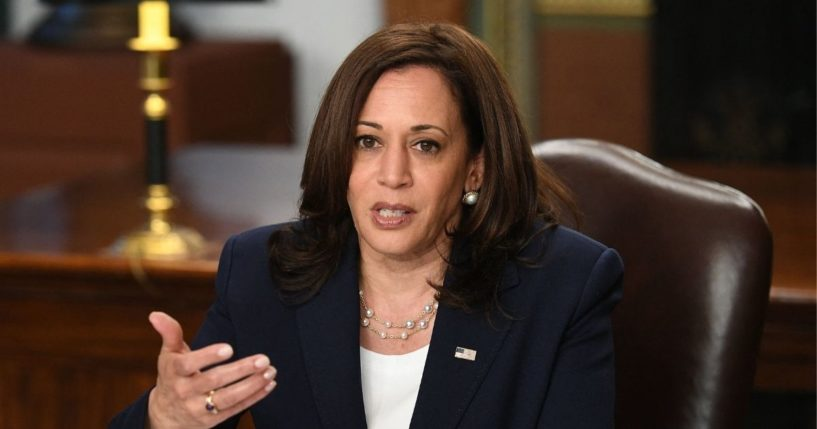 Vice President Kamala Harris takes part in a meeting with Guatemalan justice sector leaders in her Ceremonial Office in the Eisenhower Executive Office Building in Washington, D.C., on Wednesday.