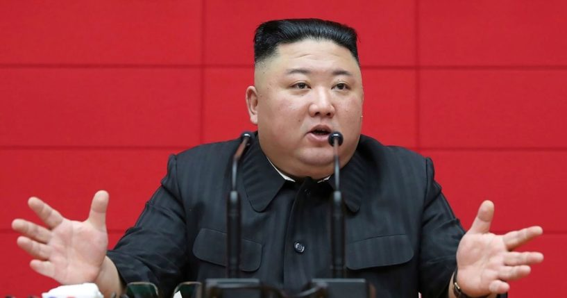 In this March 4, 2021, file photo provided by the North Korean government, North Korean leader Kim Jong Un delivers a speech during a workshop of chief secretaries of city and county committees of the ruling Workers' Party in Pyongyang, North Korea.