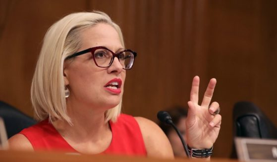Democratic Sen. Kyrsten Sinema questions witnesses during a hearing in the Dirksen Senate Office Building on Capitol Hill on May 14, 2019, in Washington, D.C.
