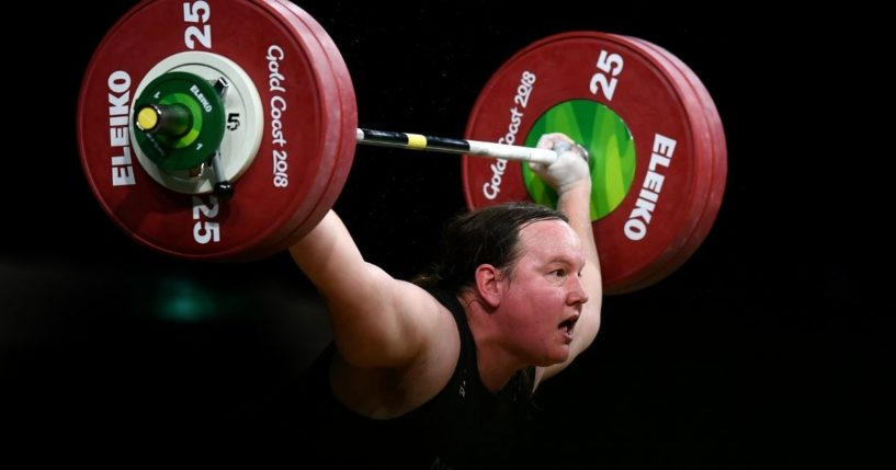 Laurel Hubbard of New Zealand competes in the Women's +90kg Final during the weightlifting competition on day five of the Gold Coast 2018 Commonwealth Games at Carrara Sports and Leisure Centre on April 9, 2018, on the Gold Coast, Australia.
