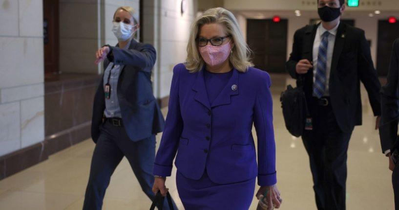 Wyoming GOP Rep. Liz Cheney arrives for a caucus meeting in the U.S. Capitol Visitors Center on Wednesday in Washington, D.C.