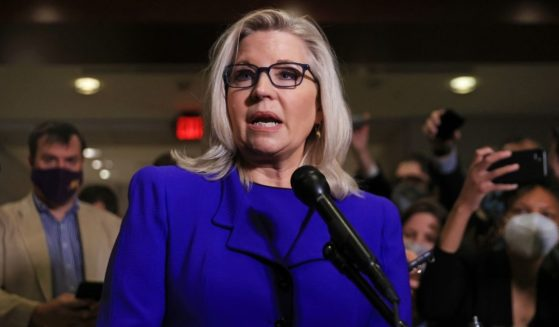 Rep. Liz Cheney talks to reporters after House Republicans voted to remove her as conference chair in the U.S. Capitol on Wednesday in Washington, D.C.