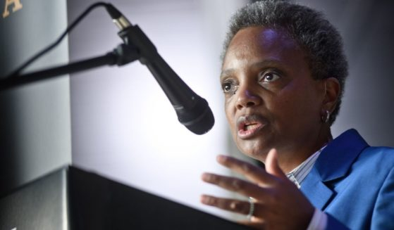 Democratic Chicago Mayor Lori Lightfoot attends the Hamilton: The Exhibition world premiere at Northerly Island on April 26, 2019, in Chicago.