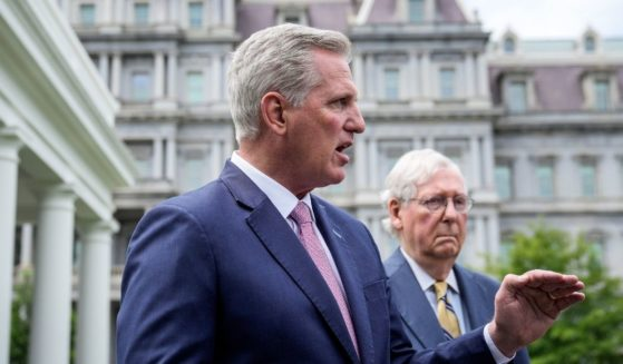 House Minority Leader Kevin McCarthy, left, and Senate Minority Leader Mitch McConnell, right, address reporters outside the White House after their Oval Office meeting with President Joe Biden on Tuesday in Washington, D.C.