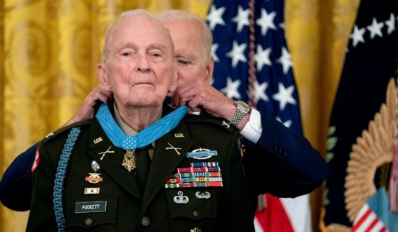 President Joe Biden presents the Medal of Honor to retired Army Col. Ralph Puckett in the East Room of the White House on Friday in Washington, D.C.