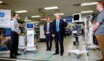 Then-Vice President Mike Pence tours GE Healthcare Manufacturing Facility in Madison, Wisconsin, on April 21, 2020.