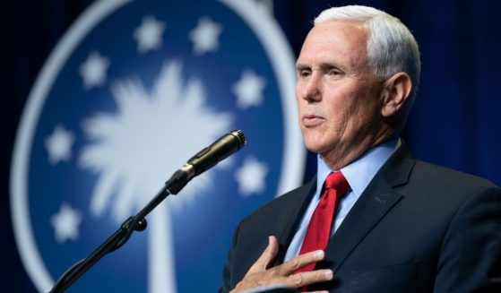 Former Vice President Mike Pence speaks to a crowd during an event sponsored by the Palmetto Family organization on April 29 in Columbia, South Carolina.