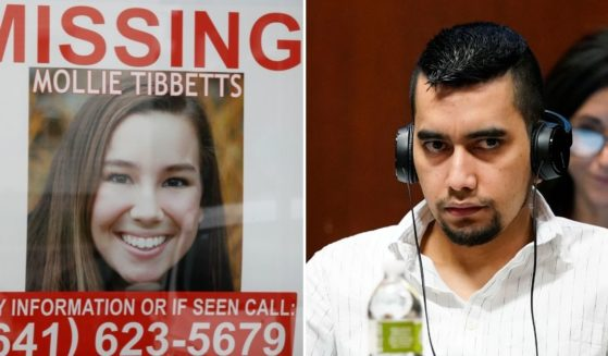 Cristhian Bahena Rivera, right, listens to testimony during his trial on Thursday at the Scott County Courthouse in Davenport, Iowa. Bahena Rivera was charged with first degree murder in the death of Mollie Tibbetts, left, in July 2018.