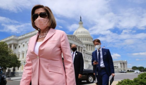 Speaker of the House California Democratic Nancy Pelosi arrives for a news conference on infrastructure outside the U.S. Capitol on Wednesday in Washington, D.C.