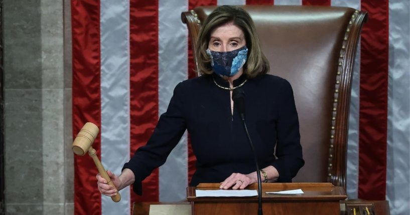 Democratic Speaker of the House Nancy Pelosi raps her gavel in the House Chamber of the U.S. Capitol Jan. 13, 2021, in Washington, D.C.