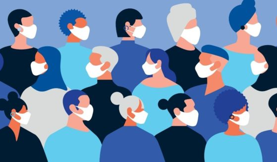 Pictured above is an illustration with people of different sexes and ethnic backgrounds all wearing face masks.