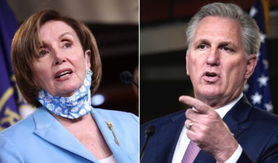 At left, House Nancy Pelosi answers questions during a news conference at the U.S. Capitol in Washington on Wednesday. At right, House Minority Leader Kevin McCarthy speaks during his weekly news conference at the Capitol on April 22.