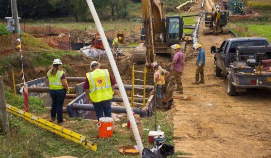 Contractors work on the Williams Transco gas liquids pipeline on Oct. 6, 2017, in Lebanon, Pennsylvania.