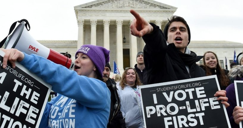 Pro-life activists demonstrate in front of the the US Supreme Court during the 47th annual March for Life on Jan. 24, 2020, in Washington, D.C.