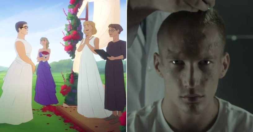 At left, a U.S. Army recruitment video features a lesbian wedding. At right, a young man has his hair cut off in a Russian recruitment video.