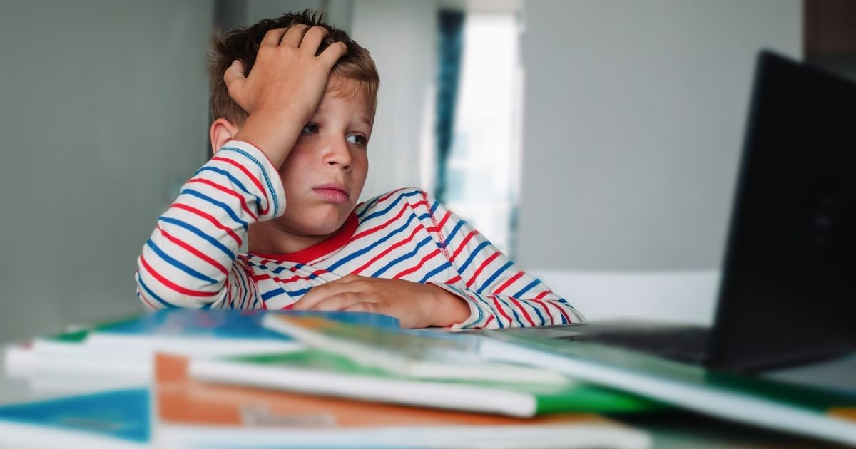 A boy with a bored expression looks at a computer screen during remote learning.
